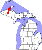 Map of Michigan highlighting Houghton County.svg