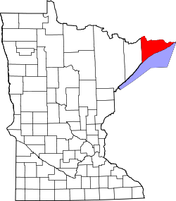 map of Minnesota highlighting Cook County