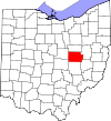 State map highlighting Coshocton County
