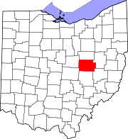 Map of Ohio highlighting Coshocton County