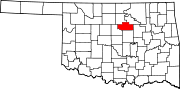 Map of Oklahoma highlighting Payne County.svg