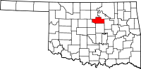 Map of Oklahoma highlighting Payne County