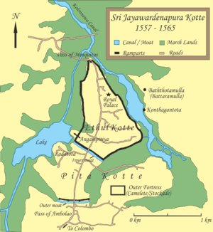 Kingdom of Kotte - Map of Sri Jayawardenepura Kotte (1557 -1565)