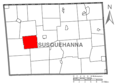 Map of Susquehanna County Pennsylvania highlighting Jessup Township.PNG