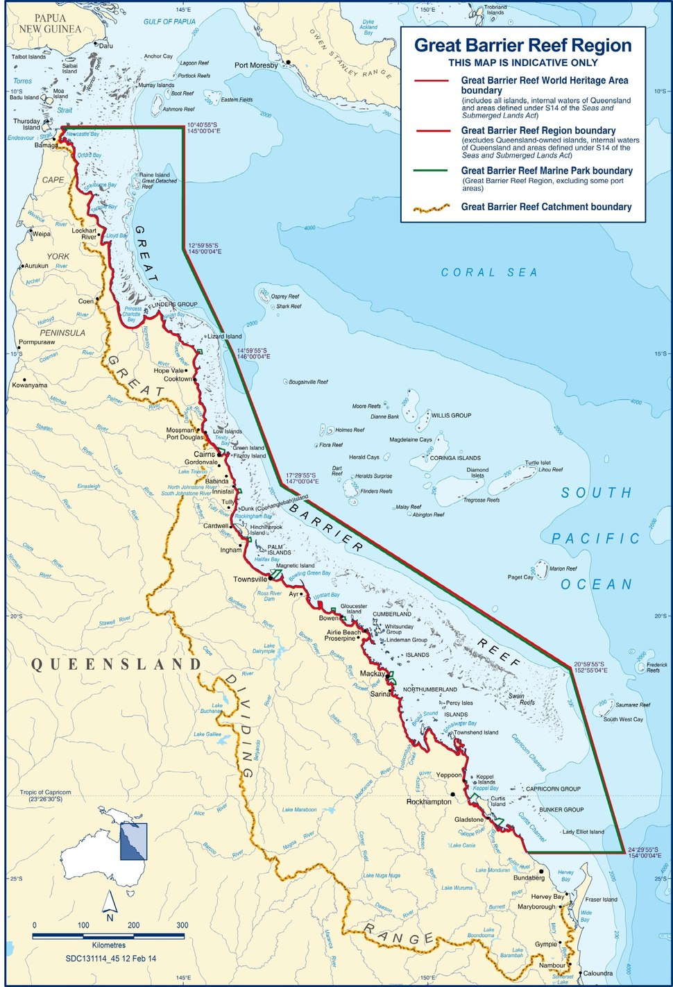 Map of The Great Barrier Reef Region, World Heritage Area and Marine Park, 2014