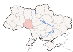 Location o Vinnytsia Oblast (red) athin Ukraine (blue)