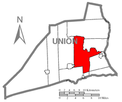 Map of Union County, Pennsylvania highlighting Buffalo Township