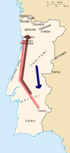 Mapa de Portugal tribos principais
