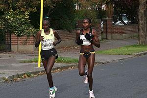 Nguriatukei Rael Kiyara - Kiyara (left) in her first European marathon in Dublin in 2007.