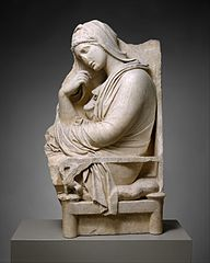 Marble stele (grave marker) of a woman
