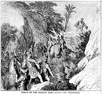 Battle of Leuctra - March of the Spartan army across the mountains