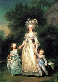 Marie Antoinette and her children in the gardens of Versailles, 1785, by Mme Vigée-Lebrun