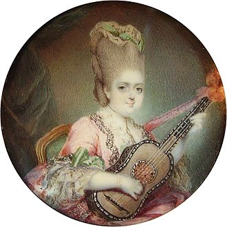Clotilde of France - Marie Clotilde of France (Madame Clotilde) with a guitar after François Hubert Drouais