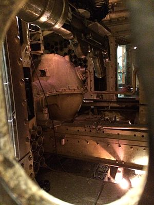 Mark IV tank - The inside of a Mark IV seen through a peephole on the starboard sponson. One machine gun is visible at the forefront above.