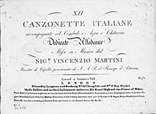 XII canzonette italiane, London 1788 (Erstausgabe Wien 1787). (Quelle: Wikimedia)