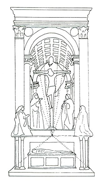 Holy Trinity (Masaccio) - (note that this line-drawing does not include adequate spacing for the altar-ledge between upper and lower sections)
