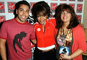 "20 Y.O. - ""Design Me"" cover contest winner Matthew Zeghibe with Jackson and a guest at the release of 20 Y.O. in the Virgin Megastore, NYC (2006)"