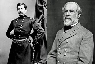 Seven Days Battles - George B. McClellan and Robert E. Lee, respective commanders of the Union and Confederate armies in the Seven Days