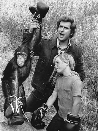 "Scott Kolden - Kolden (front) with Me and the Chimp co-stars, Ted Bessell and ""Buttons"", 1971"