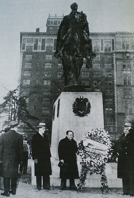 A floral offering in front of a Simón Bolívar statue in New York City, during the official visit of Venezuela's President Isaías Medina Angarita (right) to the United States in 1944. - Venezuela during World War II