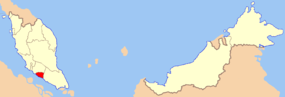 Map showing the location of the state of Malacca within Malaysia
