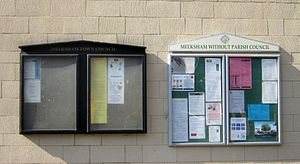 Melksham - The two Melksham councils' noticeboards at the Town Library
