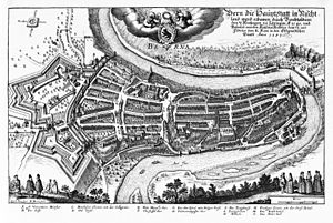 Old City (Bern) - Map of the city from 1638 showing the Old City as well as later defensive fortifications to the east.