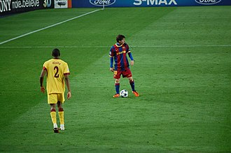 Adidas Finale - Lionel Messi of FC Barcelona in action with the Adidas Finale in the 2010–11 UEFA Champions League.