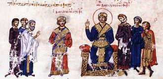 "Basiliskianos - Emperor Michael III and ""Basilikinos"" in imperial garb, from the Madrid Skylitzes"