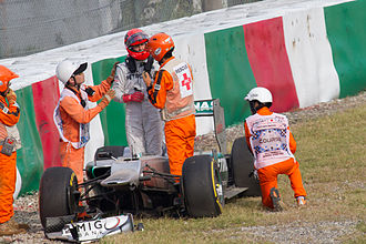 2012 Japanese Grand Prix - Paul di Resta and Michael Schumacher (picture) each crashed at Spoon curve in Free Practice 2.