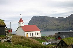 Mikladalur Church, looking across to the island of Kunoy