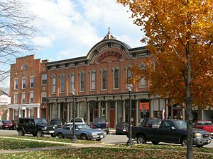 Milan, Ohio - The Kelley Block overlooking the public square.