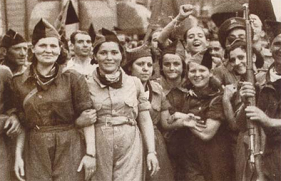 Anarcha-feminist militia during the Spanish Revolution in 1936 Milicianas CNT-FAI.png