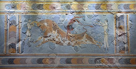 "Fresco displaying the Minoan ritual of ""bull leaping"", found in Knossos Minoan fresco depicting a bull leaping scene, found in Knossos, 1600-1400 BC, Heraklion Archaeological Museum, Crete (30547636456).jpg"