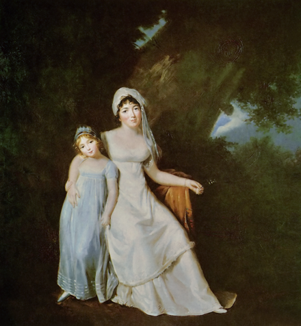 Painting by Marguerite Gerard, Mme de Stael et sa fille (around 1805); de Stael was Constant's partner and intellectual collaborator Mme de Stael avec sa fille Albertine.png