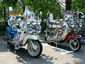 "Mod revival - Two highly accessorised ""mod-style"" Lambretta scooters"