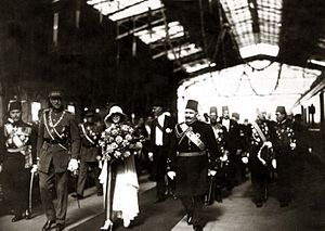 Allied leaders of World War I - King Albert (left) with his wife the Queen, and Fuad I of Egypt (right).