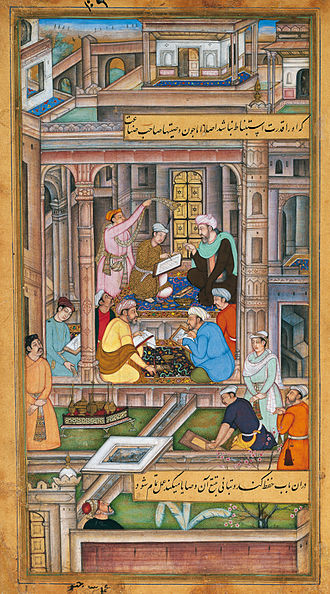 India - Writing the will and testament of the Mughal king in Persian, 1590–1595