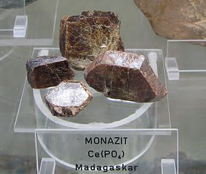 Thulium - Thulium is found in the mineral monazite