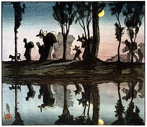 Helen Hyde - 'Moonlight on the Viga Canal' - a color woodcut made by Hyde in 1912