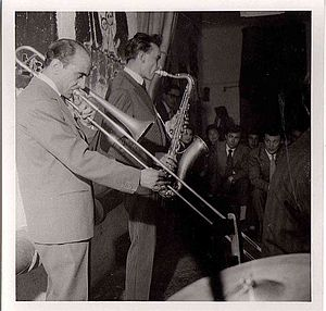 1952 in jazz - Luciano La Neve, trombone, and Gigi Tognoli, saxophone during a jam session in Italy