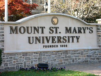 The entrance sign to Mount St. Mary's Universi...