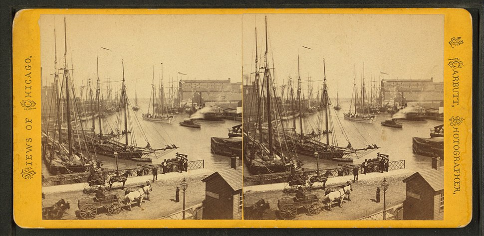 Mouth of Chicago River from Rush Street bridge, by Carbutt, John, 1832-1905