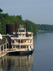 The Music City Queen on the Cumberland River in Nashville is a stern-wheeler showboat.