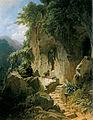 Musizierender Einsiedler vor seiner Felsenklause (Carl Spitzweg).jpg