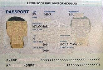 Burmese passport - Bio data page