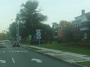 New Jersey Route 124 - Eastbound Route 124 at turn from South Street to Madison Avenue in Morristown.