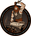 "Mission ""patch"" of NROL-55: a weapon smith (Hephaestus) is forging a sword. ""SUSTENTANTES BELLATORES DE CÆLIS"" means something like ""In sustained support for the warriors, from the sky/or heaven"""