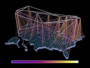 National Science Foundation Network - NSFNET Traffic 1991, NSFNET backbone nodes are shown at the top, regional networks below, traffic volume is depicted from purple (zero bytes) to white (100 billion bytes), visualization by NCSA using traffic data provided by the Merit Network.