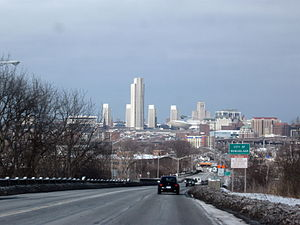 Rensselaer, New York - US 9 and 20 entering Rensselaer, with Albany's skyline looming across the Hudson River